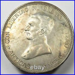 1917 AU Uruguay Un Peso Silver Republica Oriental World Coin Item #21855