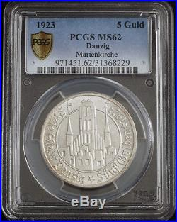 1923, Germany/Poland, Danzig (Free City). Large Silver 5 Gulden Coin. PCGS MS-62