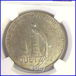 1925 Guatemala 1 Quetzal silver, 2k mintage, NGC AU-58, rarely seen