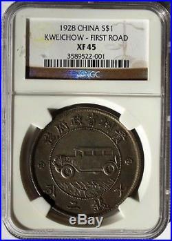 1928, China Republic, Kweichow Silver $1, Auto Dollar Year 17, NGC XF45 Rare