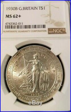 1930 Great Britain Silver Trade Dollar T$1 Ngc Ms 62+ Bright Beautiful Scarce