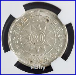 1931, China, Fukien Province. Silver 20 Cents Canton Martyrs Coin. NGC MS-63