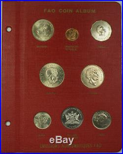 1964-1971 Complete RED FAO World 48-Coin Album With Silver/Proof Coins As Issued