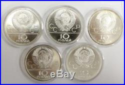 1980 USSR Moscow Olympics 28 Silver coin set Roubles 20+ ounces pure Silver wbox