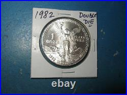 1982 Double Die Mexico One Ounce Onza Silver Libertad! Gem