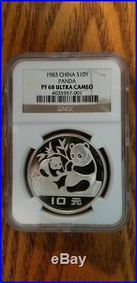 1983 Chinese Silver Panda Pf 68 Ultra Cameo