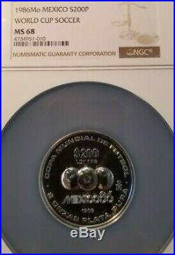 1986 Mexico Silver 200 Pesos World Cup Soccer Ngc Ms 68 High Grade Scarce Coin