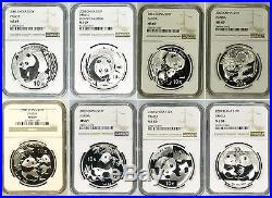 1989 2017 FULL SET PANDA Silver 32 Coins PLUS EXTRA TYPES All NGC MS69 or MS70
