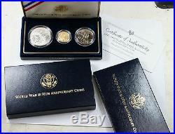 1991 1995 World War II 3 Coin BU Set $5 Gold $1 Silver Dollar NO COA