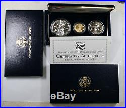 1994 US Mint World Cup Commemorative 3 Coin BU $5 Gold $1 Silver Clad Half OGP