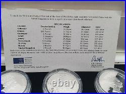 1995 9X SILVER PROOF COIN FULL BOX SET + COA 50th ANNIVERSARY OF WORLD WAR 11