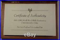1995 World War II 50th Ann. Proof & BU Silver & Gold 6 Coin Set In OGP JAH
