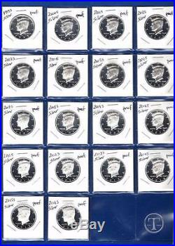 1999 S through 2016 S SILVER PROOF Kennedy Half Dollar Set-18 Gem Proof Coins