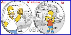 2-Coin Set 2019 The Simpsons Homer & Bart Simpson 1oz $1 Silver 99.99% Proof