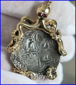 2 Reales Silver Atocha Shipwreck Coin 14k Gold Octopus Ruby Eye Bezel Pendant