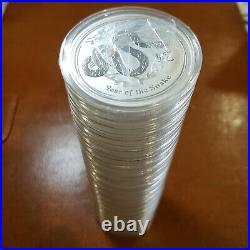 20 x Perth Mint 2013 Lunar Snake series2 1 OZ silver coins FREE global SHIPPING1