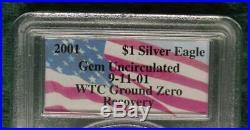 2001 PCGS Gem Unc WTC Ground Zero Silver Eagle, Recovered frm World Trade Center