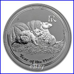 2008 2oz Silver Perth Mint Lunar Year of the Mouse Coin LOW MINTAGE