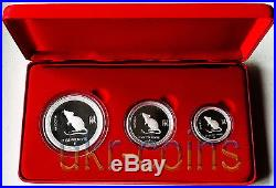 2008 Australia Lunar I Year of the Mouse Silver Proof 3-coin set 1 Oz 1/2 Oz 2Oz