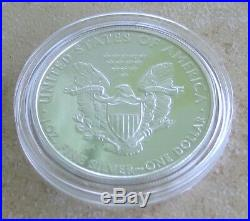 2009 Lustrous Silver Eagle Proof DC Overstrike With Case, Coa And Coin World