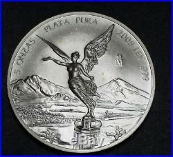 2009 Mexico 5 Oz. 999 Fine Silver Centenario World Round Art Coin Libertad $$