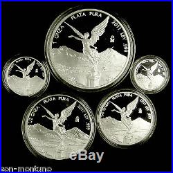 2011 Silver LIBERTAD Complete 5 coin PROOF SET 1 1/2 1/4 1/10 1/20 Oz 999 MEXICO