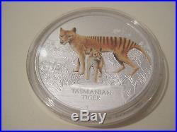 2011 TUVALU Endangered & Extinct $1 TASMANIAN TIGER 1oz SILVER PROOF COIN
