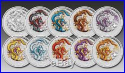 2012 Australia Year Of The Dragon 10 Coin Colour Silver Proof Set Perth Mint S/o