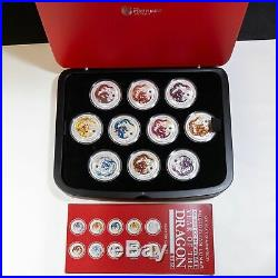 2012 Perth Mint'Year Of The Dragon' Ten 1 oz. Silver Coin Set with Box & COA