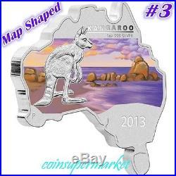 2013 Australia Map Shaped Series Kangaroo 1oz Silver Coin 6000 Minted COA & Box