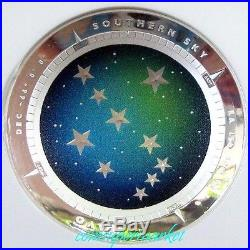 2013 Australia Southern Sky PAVO 1oz Proof Colored Silver Domed Coin NGC PF70 UC