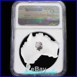 2013P Australia Map Shaped Series Kangaroo 1oz Silver Colorized Coin NGC MS70