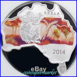 2014P Australia Map Shaped Series #5 Koala 1oz Silver Colorized Coin NGC MS70