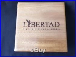 2015 Mexico Proof Like Kilo Libertad w COA, Wood Display Box & Outer Box