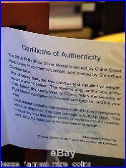 2015 Ngc Pf70 Er Fun Show 1 Oz Silver China Reverse Proof Panda. 999 Fine