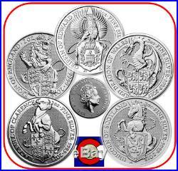 2016-2018 Queen's Beast 2 oz Silver Lion, Griffin, Dragon, Unicorn, Bull capsule
