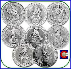 2016-2020 Queen's Beast 2 oz Silver Coins 8 coin set Lion to White Lion