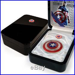 2016 Fiji 2 oz. Proof Silver Domed Marvel Captain America Shield Coin