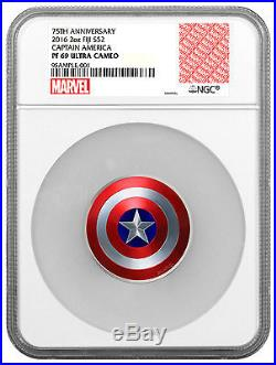 2016 Fiji Captain America Shield Marvel Domed 2 oz. Silver NGC PF69 UC SKU48136