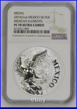 2016 MO Mexico 1 oz Mexican Elements Pure Silver Official Mint Medal NGC PF70