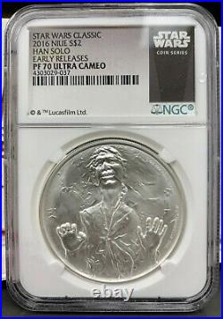 2016 Niue $2 Star Wars Han Solo Proof 1 oz. 999 Silver Coin NGC PF 70 UCAM