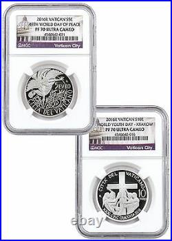 2016 Set of 2 10&5Euro Vatican Silver Proof Coins NGC PF70 UC World Day of Peace