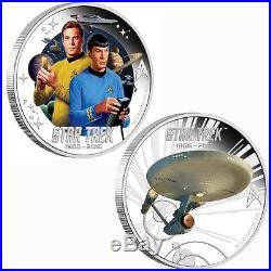 2016 Star Trek 50th Anniv Silver 2 Coin Set Enterprise Kirk Spock Transporter
