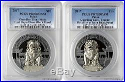 2017 $10 Palau Guardian Lion. 999 Silver 2-Coin Black Proof Set PCGS PR70DCAM FD