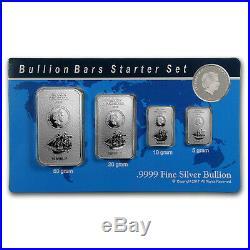 2017 85 gram Silver Cook Islands Bounty 4-Coin Bars Starter Set SKU#167240
