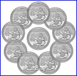 2017 China 10 Yuan 30g Silver Panda Lot of 10 In Mint Cap SKU43869