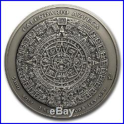 2017 Mexico 1 kilo Silver Aztec Calendar Antiqued Finish
