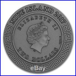 2017 Niue 2 oz Antique Silver Demigods Achilles Ultra High Relief SKU#166418