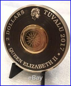 2017-P $2 Tuvalu Compass Antique Finish 2 oz. High Relief Silver Coin