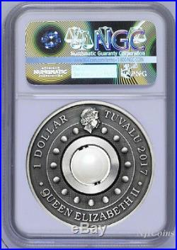 2017 P Tuvalu Dragon & Pearl ANTIQUED 1oz Silver $1 COIN NGC MS 69 ER